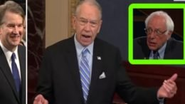 Bernie Sanders jumps on the bash Kavanaugh game. Grassley sets him straight. Photo credit to US4Trump compilation with screen grabs.