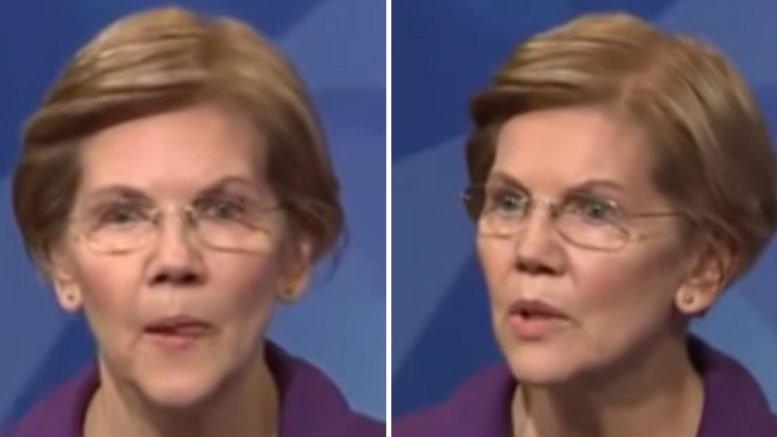 Elizabeth Warren debates Jeff Diehl. Photo credit to Swamp Drain with screen shots.