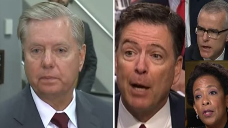 Lindsey Graham disclosed next steps to finding truth to the corrupt Obama-era dealings with the FISA court. Photo credit to Swamp Drain compilation with screen shots.