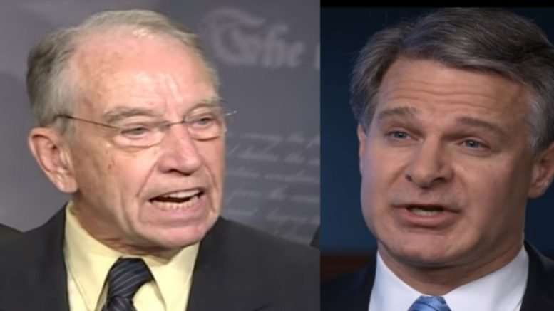 Grassley wants answers to the FBI raid on Clinton Foundation whistleblower from Wray at the FBI. Photo credit to Swamp Drain compilation with screen shots.