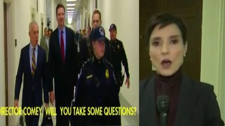 Comey goes into his closed-door testimony on Capitol Hill. Photo credit to Swamp Drain compilation with Fox News screen shots.