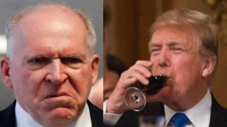 Brennan lashes out; President Trump and Patriots roast Brennan. Photo credit to Swamp Drain compilation with Reuters & screen shot.