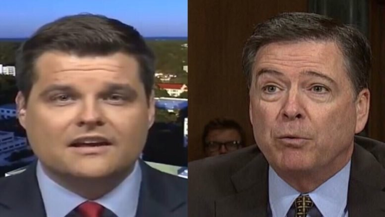 Gaetz talks Comey interview. Photo credit to Swamp Drain compilation with screen shots.
