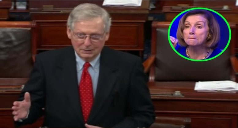 Senate Majority Leader, Mitch McConnell sends message to House about Bill with Wall funding in it or it will never get to the President's desk. Photo credit to Swamp Drain compilation with screen shots.