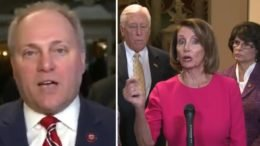 Steve Scalise weighs in on Democrat obstruction of the Wall. Photo credit to Swamp Drain compilation with screen shots.