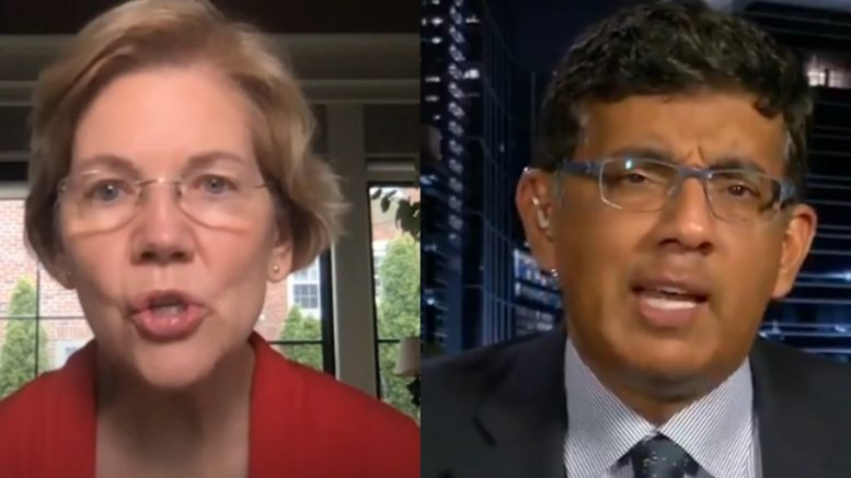 Elizabeth Warren, Dinesh D'Souza